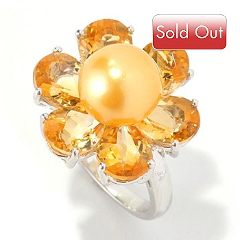 129-030 - Sterling Silver 8-8.5mm Golden South Sea Cultured Pearl & Citrine Flower Ring