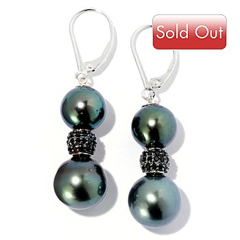 129-043 - Sterling Silver 1.75'' 10-11mm Tahitian Cultured Pearl & Spinel Dangle Earrings