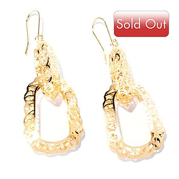 129-058 - Italian Designs with Stefano 14K Gold Ricami Oval Dangle Earrings