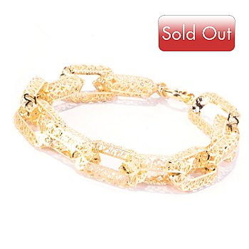 129-059 - Italian Designs with Stefano 14K Gold 7.5'' Ricami Oval Link Bracelet