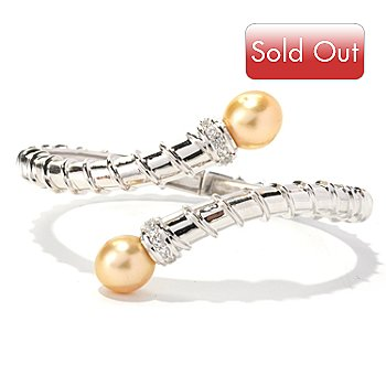 129-073 - Sterling Silver 10-11mm Golden South Sea Cultured Pearl & Topaz Bangle Bracelet