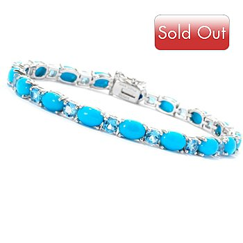 129-098 - Gem Insider Sterling Silver 7.5'' Blue Topaz & Sleeping Beauty Turquoise Bracelet