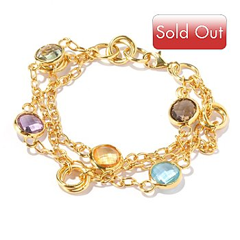 129-217 - Portofino Gold Embraced™ 8'' Multi Gemstone Three-Strand Bracelet