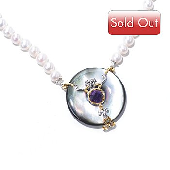 129-236 - Gems en Vogue II 35mm Tahitian Shell, Amethyst & Cultured Pearl Strung Necklace