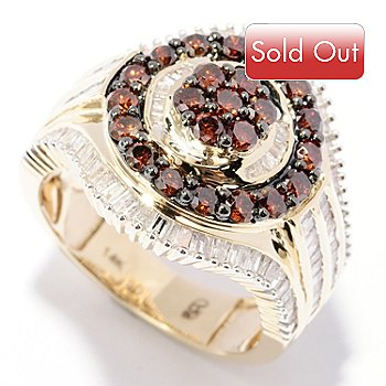 129-275 - Diamond Treasures 14K Gold 1.99ctw Red & White Diamond Dual Circle Ring