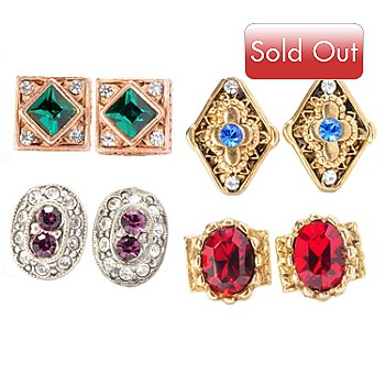 129-328 - Sweet Romance™ Set of Four Crystal Stud Earrings