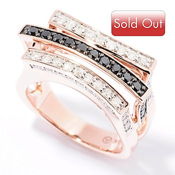 129-454 - Beverly Hills Elegance 14K Rose Gold 1.25ctw Black & White Diamond Three-row Ring
