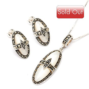 129-477 - Sterling Silver Mother-of-Pearl & Marcasite Earrings & Pendant Set w/ 18'' Chain