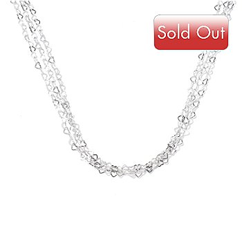 129-514 - Palatino™ Platinum Embraced™ 20'' Heart Link Multi Strand Necklace