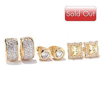 129-580 - Brilliante® Set of Three Everyday Essential Earrings