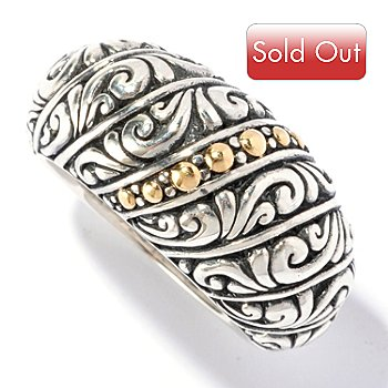 129-683 - Artisan Silver by Samuel B. Two-tone Balinese Design Ring