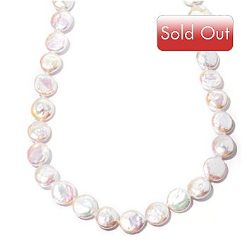 129-796 - Sterling Silver 12-13mm White Coin Shaped Freshwater Cultured Pearl Necklace