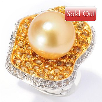 129-799 - Sterling Silver 11-12mm Golden South Sea Cultured Pearl, Citrine & Sapphire Ring