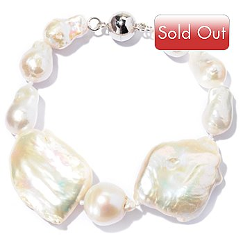 129-804 - Sterling Silver 8'' 10-13mm Baroque Freshwater White Cultured Pearl Bracelet