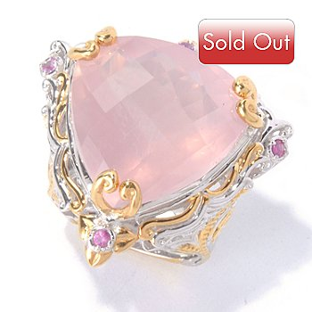 129-926 - Gems en Vogue II 20mm Rose Quartz Trillion & Pink Sapphire Ring