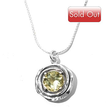 129-979 - Passage to Israel Sterling Silver 2.25ctw Faceted Gemstone Pendant w/ 18'' Box Chain
