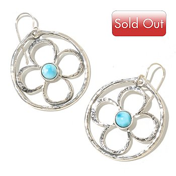 129-982 - Passage to Israel Larimar Flower Motif Hammered Drop Earrings