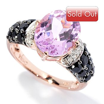 130-008 - Gem Treasures 14K Rose Gold 5.32ctw Oval Kunzite, Spinel & Diamond Ring