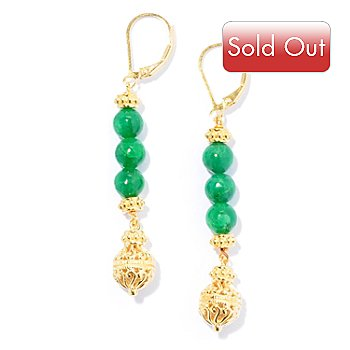 130-040 - Jaipur Bazaar Gold Embraced™ Dyed Emerald Bead Elongated Filigree Drop Earrings