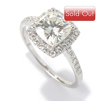 130-086 - Estrella Moissanite 14K White Gold 2.00 DEW Cushion Cut Halo Ring