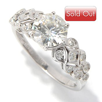 130-088 - Estrella Moissanite 14K White Gold 1.36 DEW Fancy Shank Ring