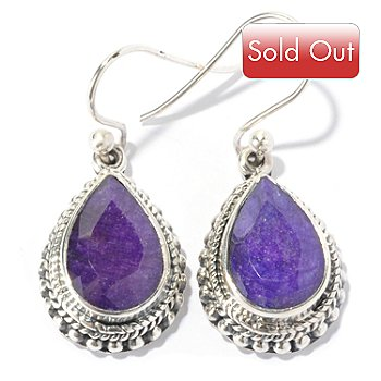 130-145 - Artisan Silver by Samuel B. 12 x 8mm Dyed Purple Sapphire Teardrop Earrings
