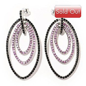 130-168 - Gem Treasures Sterling Silver 4.40ctw Pink Sapphire & Black Spinel Earrings