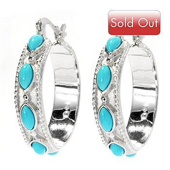 130-172 - Gem Insider Sterling Silver 1.25'' Sleeping Beauty Turquoise Hoop Earrings
