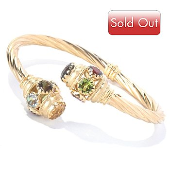 130-350 - Viale18K® Italian Gold 6.5'' Multi Gemstone Hinged Bracelet