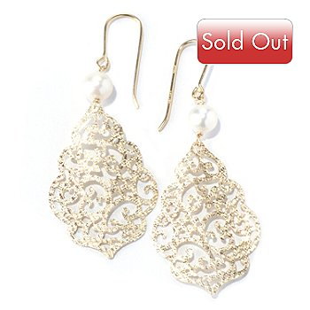 130-355 - Viale18K® Italian Gold 6mm Cultured Freshwater Pearl Open Work Earrings
