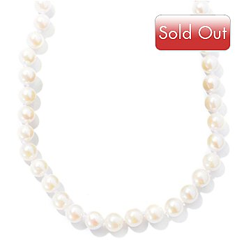 130-437 - Sterling Silver 18'' 6-6.5mm White Round Akoya Cultured Pearl Necklace