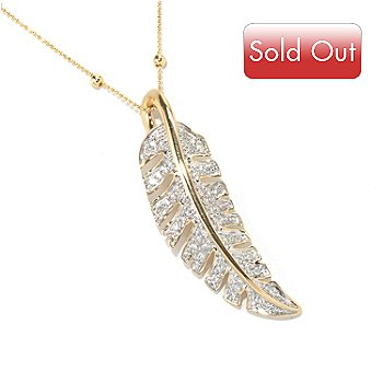 "130-605 - Beverly Hills Elegance 14K Gold 0.50ctw Diamond Leaf Pendant w/ 18"" Chain"