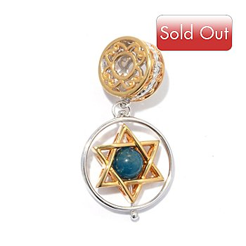 130-816 - Gems en Vogue II Apatite Bead Star of David Spin Drop Charm