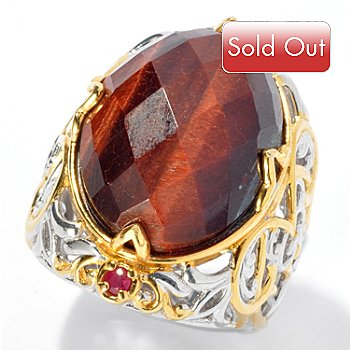 130-824 - Gems en Vogue II 20 x 15mm Checkerboard Cut Tiger's Eye & Ruby Ring