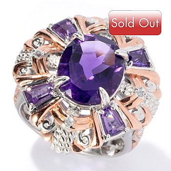 130-826 - Gems en Vogue II 4.61ctw African Amethyst & White Sapphire Polished Ring