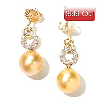 130-843 - 14K Gold 1.25'' 12-13mm Oval Golden South Sea Cultured Pearl & Diamond Earrings