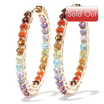131-014 - NYC II 4.86ctw Multi Gemstone Exotic Rainbow Inside-Out Hoop Earrings