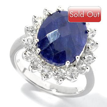131-030 - Artisan Silver by Samuel B. Dyed Blue Sapphire & White Topaz Halo Ring