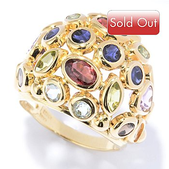 131-041 - Viale18K® Italian Gold 5.60ctw Multi Gemstone Dome Ring