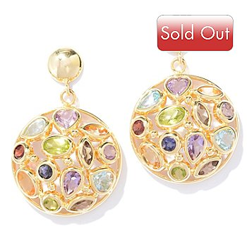131-042 - Viale18K® Italian Gold 7.24ctw Multi Gemstone Round Drop Earrings