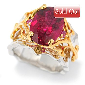 131-484 - The Vault from Gems en Vogue II 6.11ctw Rubellite & Pink Ruby Hammered Ring