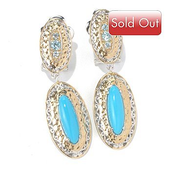 131-700 - Gems en Vogue II 1.75'' Sleeping Beauty Turquoise & Blue Zircon Drop Earrings