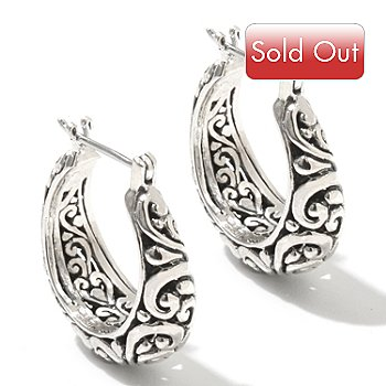 131-766 - Artisan Silver by Samuel B. 1'' Textured Swirl Design Hoop Earrings