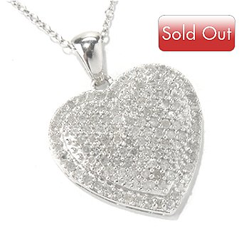 131-782 - Diamond Treasures Sterling Silver 0.96ctw Diamond Heart Pendant w/ 18'' Chain