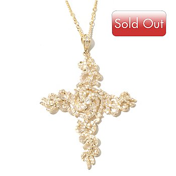 131-957 - Beverly Hills Elegance 14K Gold 1.20ctw Diamond Cross Pendant w/ 18'' Designer Chain