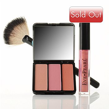 303-849 - EVE PEARL Cosmetics Gloss, Sassy Blush & Brush Trio