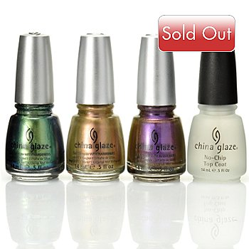 305-152 - China Glaze® Three-Piece ''Bohemian Luster Chrome'' Collection & Top Coat