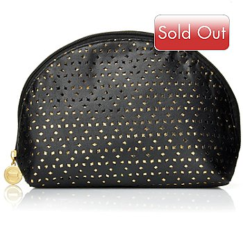 305-171 - Elizabeth Grant Gold-tone & Black Cosmetic Bag