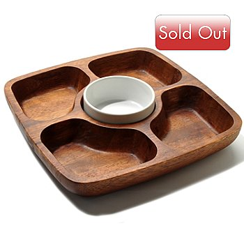 400-247 - Macy's The Cellar Five-Section Acacia Wood Entertaining Set w/ Ceramic Bowl