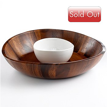 400-248 - Macy's The Cellar Two-Piece Curved Acacia Wood Chip & Dip Set
